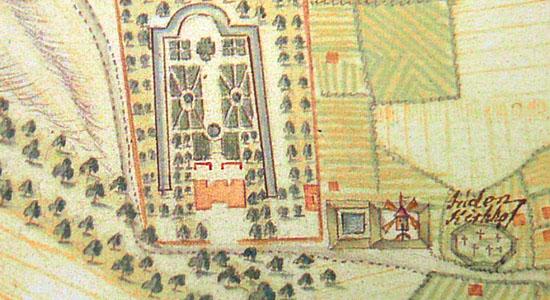 """""""Juden-Kirchhof"""": Der Friedhofshügel auf einem Plan der Stadt Hannover aus dem Jahre 1763"""