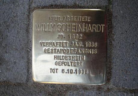 Stolperstein für Willy Scheinhardt, verlegt 3. März 2009