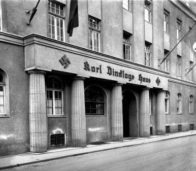 Karl-Dincklage-Haus, Sitz der NSDAP-Gauleitung Süd-Hannover-Braunschweig in der Dincklagestraße (davor: Kurze Straße, jetzt Standort Allianz-Haus). Foto von Wilhelm Hauschild, Juni 1939. HAZ-Hauschild-Archiv im Historischen Museum Hannover