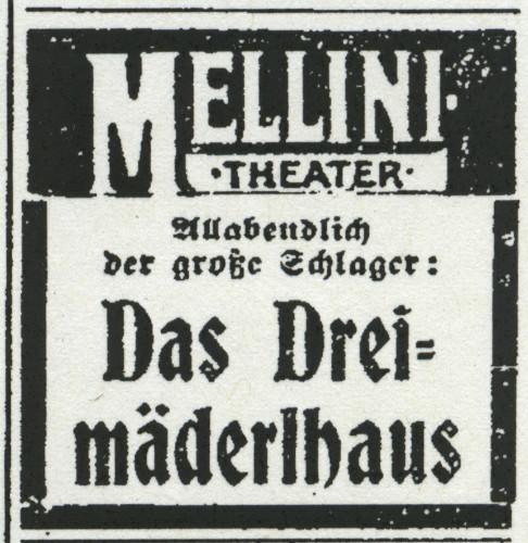 """Anzeige für die Operette """"Das Dreimäderlhaus"""" im Mellini-Theater, aus: Volkswille Nr. 241/ 1916. Bildarchiv Historisches Museum Hannover"""