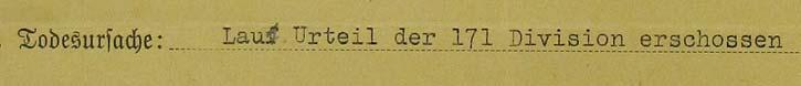 """Vermerk der Todesursache auf Heinrichs Börners Karte in der """"Heldenkartei"""" im Stadtarchiv Hannover"""
